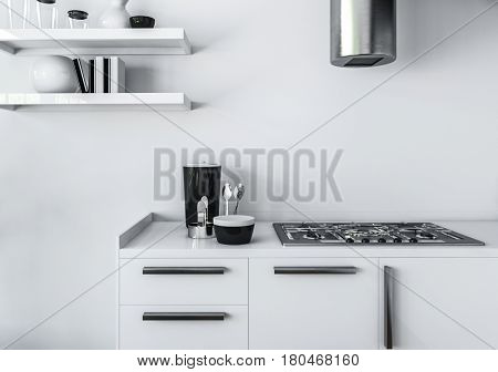 Modern kitchen minimalist interior design concept, of white furniture, and gas stove with shiny pipe of cooker hood, against white wall. 3d rendering.
