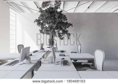 Office room with white walls, ceiling, desk and greyscale tree plant, colorless concept. 3d Rendering. 3d rendering.