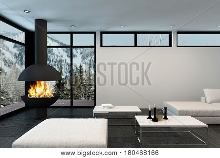 Fire roars in modern corner fireplace of luxury apartment in the mountains. 3d rendering.