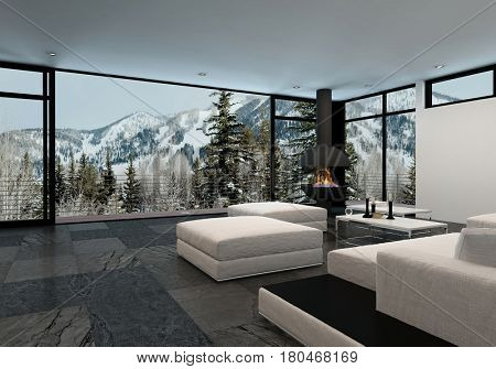 Minimalist luxury home interior in the mountains with large wrap around floor to ceiling view windows overlooking snowy peaks and stylish white furniture with ottomans. 3d rendering.