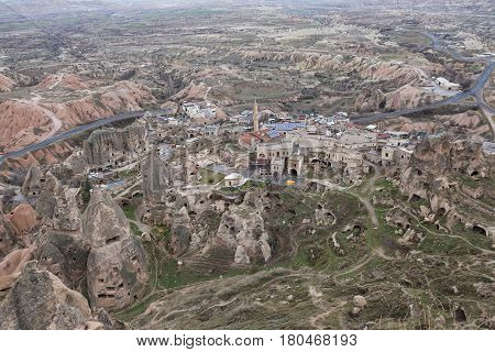 Cappadocia landscape. Top view of Uchisar and the surrounding valleys. Turkey