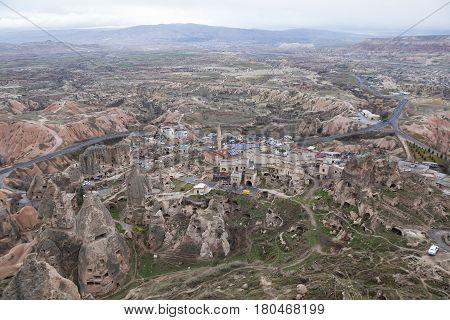 Cappadocia landscape. Top view of Uchisar and surrounding valleys. Turkey