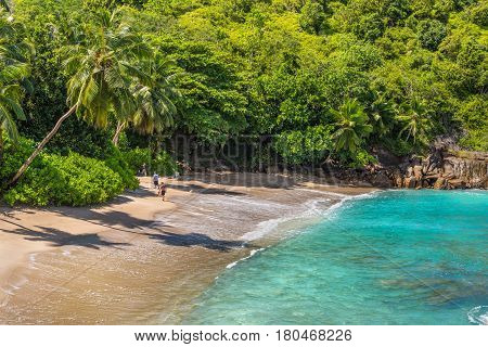 Anse Major Mahe Seychelles - December 16 2015: People enjoy the Anse Major beach part of the Baie Tarney Marine National Park and is overall part of the Morne Seychellois National Park.