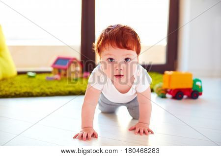 Cute Toddler Baby Crawling On The Floor At Home