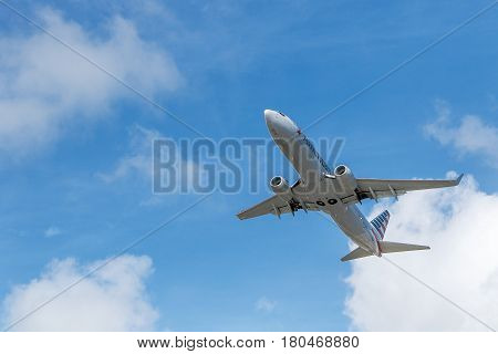 Saint Martin Dutch Antilles March 21 2017: American Airlines passenger jet begins its flight that has originated at the Princess Juliana airport.