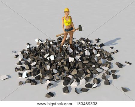 Woman with a sledgehammer standing on a pile of debris, 3d illustration