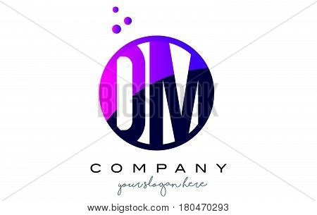 Dm D M Circle Letter Logo Design With Purple Dots Bubbles