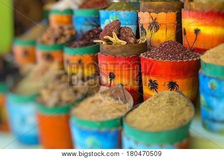 Traditional spices market with herbs and spices in Aswan Egypt.