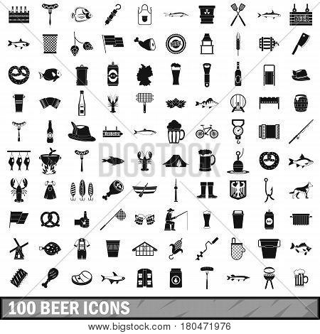 100 beer icons set in simple style for any design vector illustration