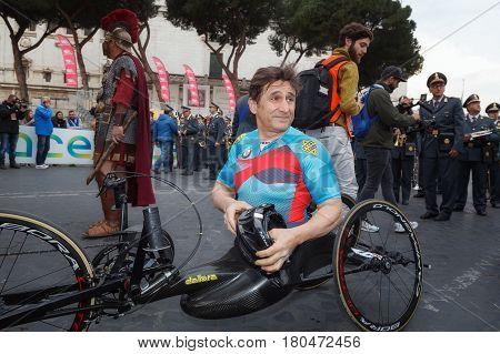 Rome Italy - April 2nd 2017: Alex Zanardi is the winner of the hand bike race of the 23rd Rome Marathon. Zanardi prepares just before the start.