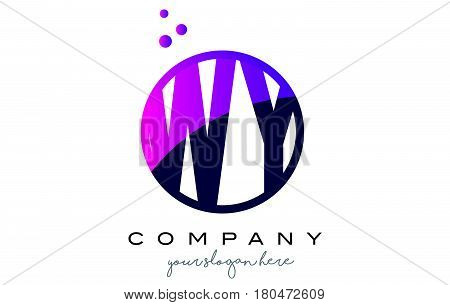 Wy W Y Circle Letter Logo Design With Purple Dots Bubbles