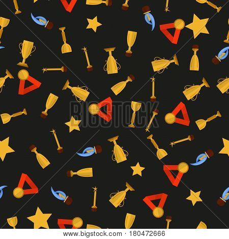 Seamless pattern with cups and medals on black background. Vector. Victory, success.