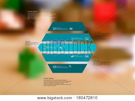 Illustration infographic template with motif of hexagon horizontally divided to five standalone blue sections. Blurred photo with financial motif with coins and money is used as background.
