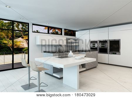 Modern clean white open plan kitchen interior with bar counter and fitted appliance. 3d Rendering.