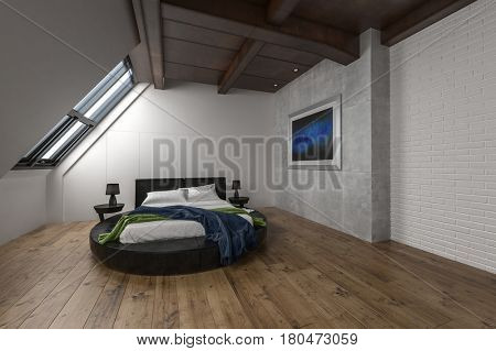 Interior of attic apartment with minimalist decor and single slanted window. 3d Rendering.