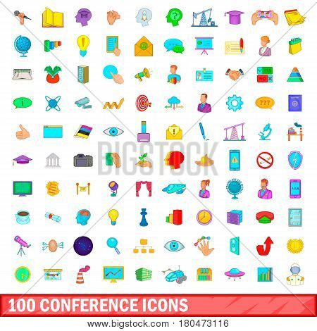 100 conference icons set in cartoon style for any design vector illustration