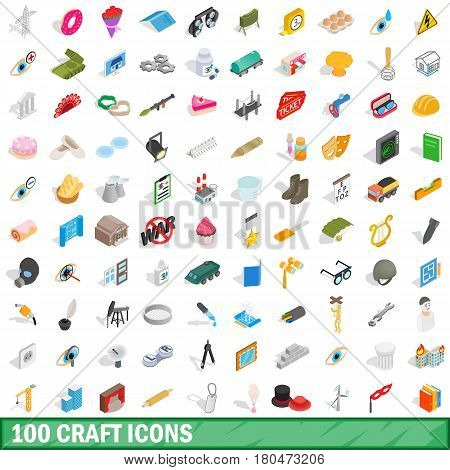 100 craft icons set in isometric 3d style for any design vector illustration