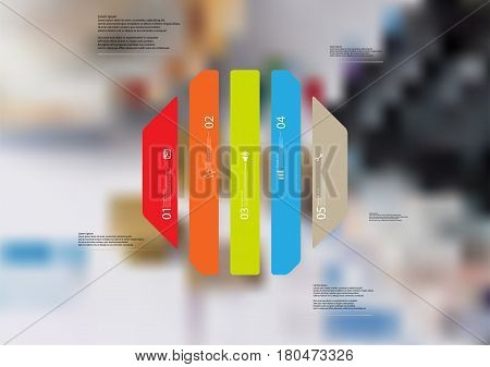 Illustration infographic template with motif of octagon vertically divided to five standalone color sections. Blurred photo with financial motif with charts coins and calculator is used as background.