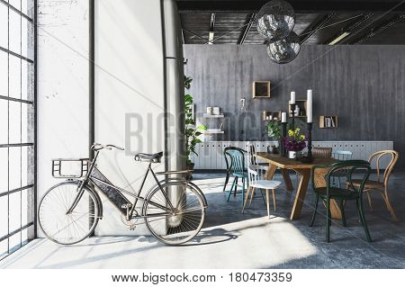 Bicycle next to full length window in spacious modern penthouse with table and chairs in background. 3d rendering.