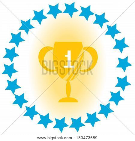 Cup for the first place with blue stars. 1st place Flat Vector Illustration.