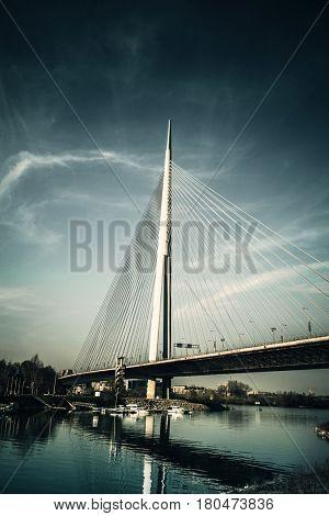 Ada bridge in Belgrade Serbia over the river Sava
