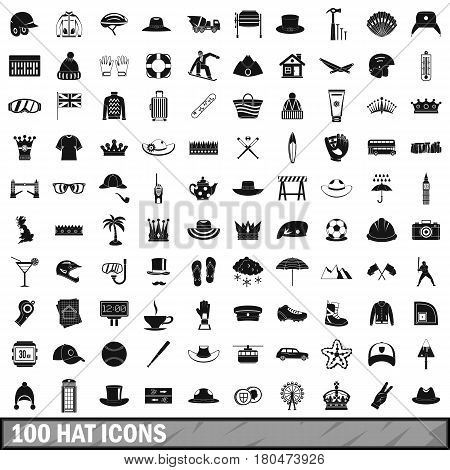 100 hat icons set in simple style for any design vector illustration