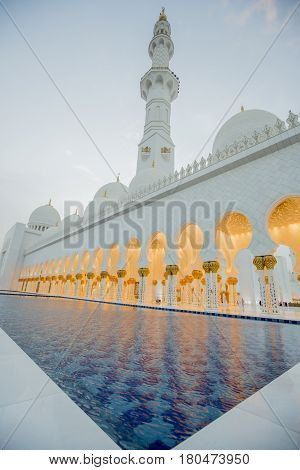Sheikh Zayed Mosque in Abu Dhabi. Mosque was designed by Yusef Abdelki and opened at 2007.