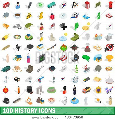100 history icons set in isometric 3d style for any design vector illustration