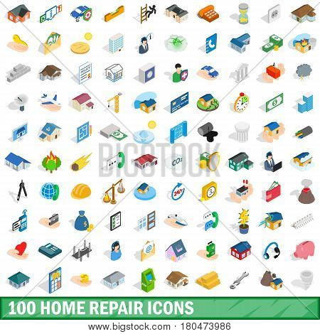 100 home repair icons set in isometric 3d style for any design vector illustration