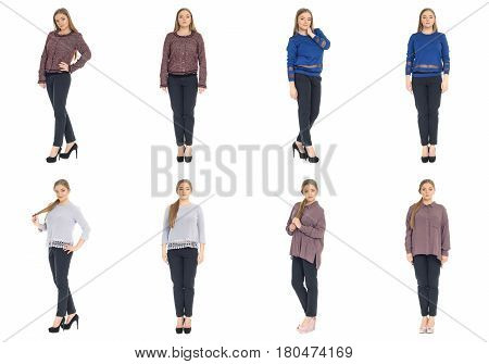 Full Length Body Image Of  Young Crummy Woman Isolated