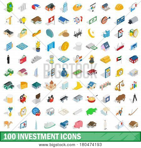 100 investment icons set in isometric 3d style for any design vector illustration