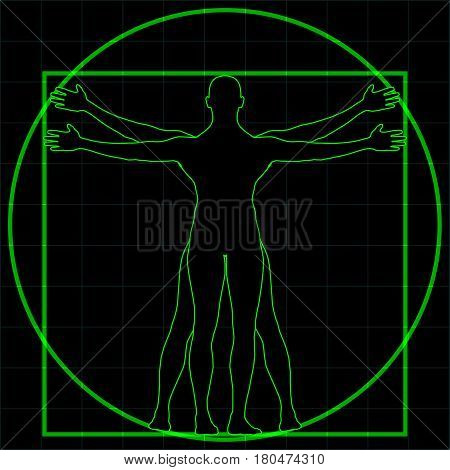 Futuristic Wireframe Vitruvian Man Silhouette