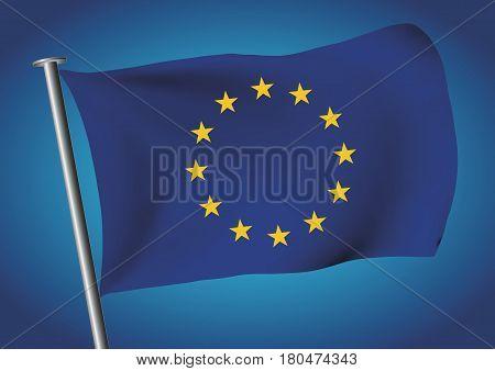 European Union Flag Waving Before Brexit