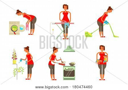 Set of housewifes in funny cartoon style for infographic. Homemaker is cleaning, ironing, cooking, wash and child rearing vector illustration.