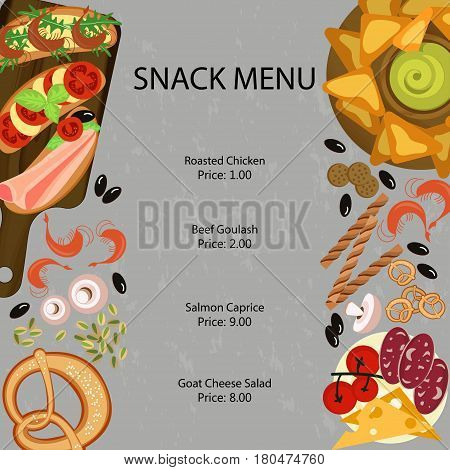 Snak restaurant menu template with different dishes and light meal. Vector illustration eps 10