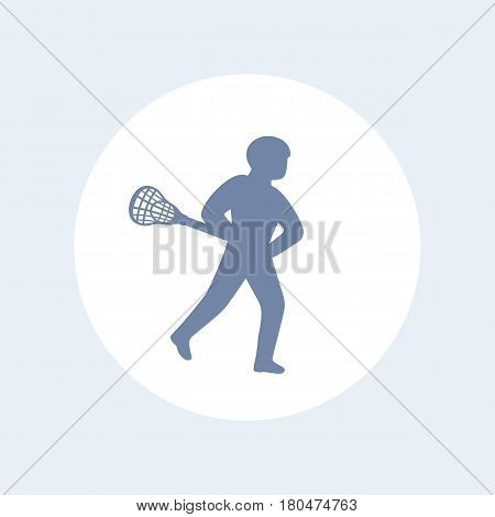 Lacrosse player icon isolated over white, eps 10 file, easy to edit