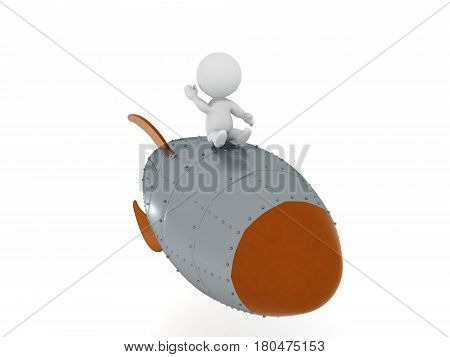 3D Character flying on retro looking rocket and waving his hand. This image can be interpereted in any way the viewer decides to.