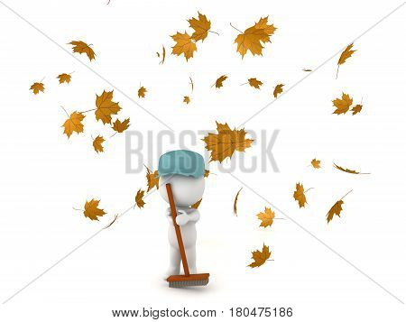 3D Character dressed as janitor cleaning fallen autumn leaves. Other leaves are flying and falling through the air.