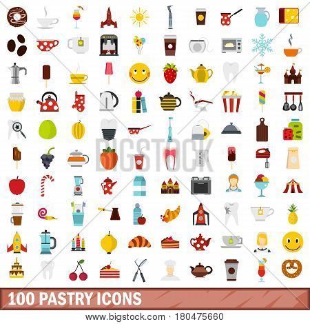 100 pastry icons set in flat style for any design vector illustration