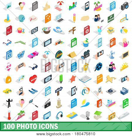 100 photo icons set in isometric 3d style for any design vector illustration