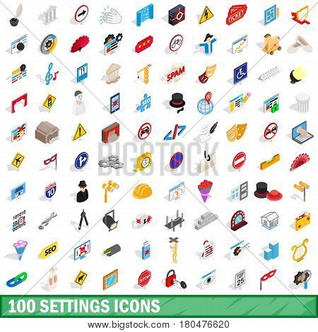 100 settings icons set in isometric 3d style for any design vector illustration