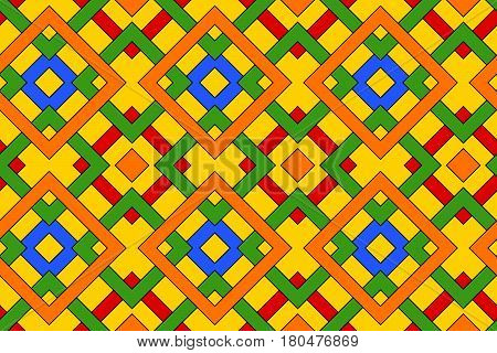 Abstract fashionable geometric seamless pattern with celtic ornament of red blue green orange and yellow shades