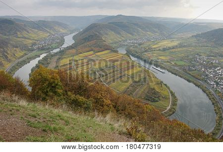 Moselle river loop on a dull autumnal day, Bremm, Germany, Europe