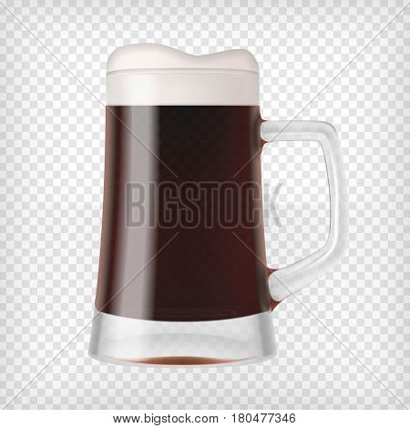 Realistic beer glass. Mug with dark stout beer and bubbles. Graphic design element for a brewery ad, beer garden poster, flyers and printables. Transparent vector illustration.