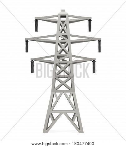 Power Transmission Tower isolated on white background. 3D render