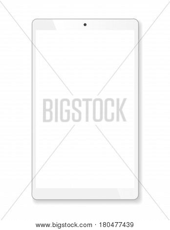 Realistic tablet portable computer. Contemporary white gadget. Graphic design element for catalog, web site, as blank mockup, demonstration template. Isolated on white background. Vector illustration.