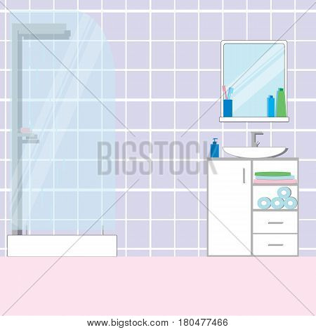 Bathroom interior with furniture sink shower and other home interior objects. Flat vector illustration.