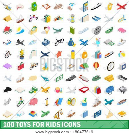 100 toys for kids icons set in isometric 3d style for any design vector illustration