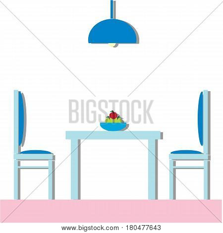 Dining room Modern with furniture - table and two chairs inside house cafe or restaurant. Flat Vector Illustration.