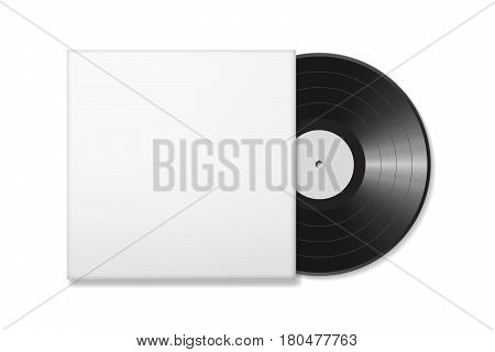 Blank vinyl disc mock up in a case. White background. Realistic empty template of a music record plate. Graphic design element for scrapbooking, musical flyer or poster, web site. Vector illustration.